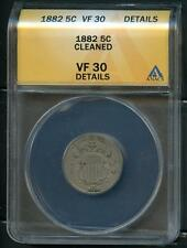 UNITED STATES 1882 SHIELD NICKEL ANACS VF30 DETAILS CLEANED