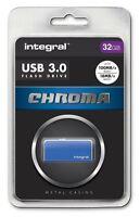 Integral 32GB CHROMA USB 3.0 Capless Flash Drive in Blue. INFD32GBCHR3.0BL