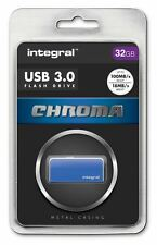 Integral 32GB CHROMA USB 3.0 Capless Flash Drive in Blue. INFD32GBCHR3.0BL