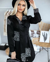 Women T-Shirt Sexy Long Sleeve Letter Printed Blouse V-Neck Oversize Shirt Dress