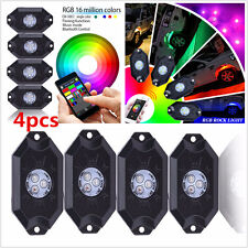 4Pcs LED Car Offroad Wireless Bluetooth Music CREE LED Rock Lights Multi Color