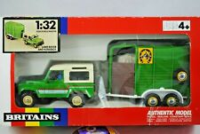 MINT 1:32 Britains 9612 LAND ROVER COUNTY Farm Vehicle & HORSE BOX Trailer w BOX