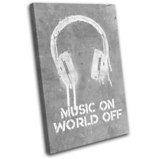 Music DJ Quote Urban Headset Musical SINGLE CANVAS WALL ART Picture Print