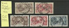 GREAT-BRITAIN/ GB:  5 diff. stamps GV Seahorse high values (incl. 10/-) / USED