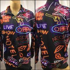 Rockabilly Vegas Neon Sign Poker Lady Luck Jacket Full Zipper Hush Hush Size XL