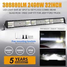"32""INCH 2496W LED Work LIGHT BAR Spot Flood Offroad Truck SUV PK 30"" Tri-Row"