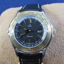 18k Gold Bezel Ebel Voyager GMT Mens Watch