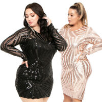 Women's Sequin Mini Dress Long Sleeve Evening Party Cocktail Bodycon Clubwear