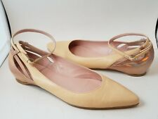 SIZE 7.5 STUART WEITZMAN womens flats shoes Creme/ rose leather pointed toe