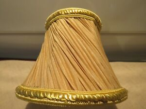 Lovely Pleated & Adorned Two Tone Gold Sconce/Chandelier Shades EUC