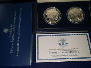 🔥2001 Buffalo 2-Coin Silver Dollar Commemorative Coins US Mint Set w/Box & COA
