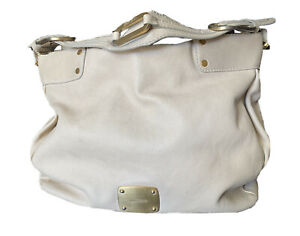Jimmy Choo Nude/Beige Large Leather Hobo Shoulder Bag Italy GORGEOUS RARE