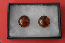 Stunning 925 Silver Earrings W. Amber 4.6 Gr.1.8 Cm.Wide Quality Clip-On In Box