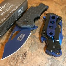 MTECH BLACK BLUE Spring Assisted BOTTLE OPENER Folding Pocket Knife Blade NEW!