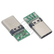 5pcs USB3.1 Type C Connector 24 Pin Male Socket w/ PCB Board DIY Cable
