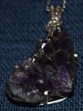 """Amethyst Geode Sterling Silver Pendant with Stainless Steel 20"""" Chain"""