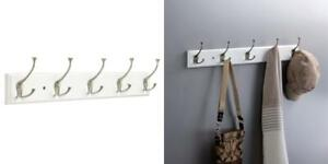 Franklin Brass 27 inch rail with 5 Flared Hooks, White and Satin Nickel