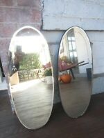Pair Vintage/Antique Oval Etched Mirrors Beveled 1930's Deco