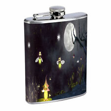 Fireflies D3 Flask 8oz Stainless Steel Hip Drinking Whiskey Insect Glow Bugs