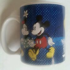 """Disney Mickey and Minnie Mouse Coffee Mug Couples """"You and Me"""" Blue Valentines"""