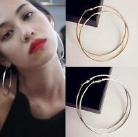 8CM 10CM Big Large Hoop Earrings Gold Silver Metal Smooth Women's Girl Jewelry H