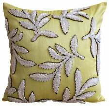 Silk 20x20 inch Decorative Pillow Cover Yellow, Leaf Ribbon - White Leaves