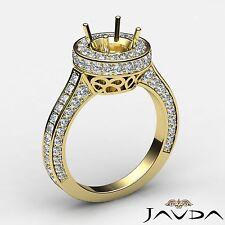 Diamond Engagement Filigree Ring Round Semi Mount Halo 14k Yellow Gold 1.6 Carat