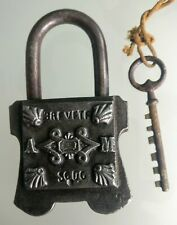 Big Padlock Antique Initial With M. / With Sa Key Metal Forged
