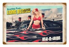 INK N IRON Long Beach Custom Hot Rod Pin up girl Retrò SIGN IN LAMIERA SCUDO SCUDO