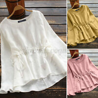 ZANZEA Women Summer Casual Loose Fit Peplum Top Tee T Shirt Long Sleeve Blouse