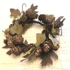 Farmhouse Primitive Thanksgiving Candle Ring Holder Pinecone Wreath Christmas