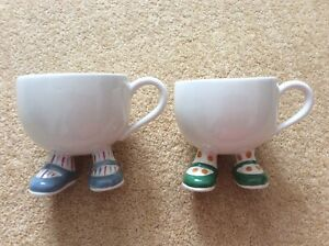 2 Carlton Ware Pottery Walking Cups / Mugs. Blue and green shoes.