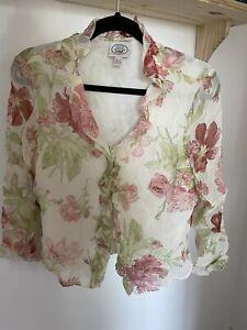 Laura Ashley Vintage/Retro Silk Rose Floral Detail Blouse Shirt UK12/14 90s Y2K