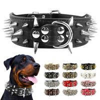 Spiked Studded Dog Collar Soft Leather Rivet Cool for Medium Large Dogs Pitbull