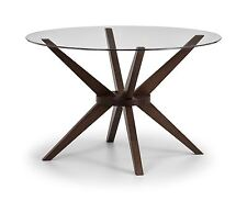 Julian Bowen Chelsea Round Dining Table Only Glass & Solid Beech Walnut Finish.