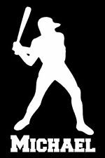 Custom Vinyl Baseball Player with Name Car Window Decal / Sticker