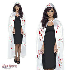 FANCY DRESS ACCESSORIES # ADULT HALLOWEEN WHITE BLOOD STAINED CARNAGE CAPE
