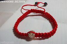 "Bracelet ""Shamballa""cordon rouge&perle facette cristal +hemtite,tissage macramé"