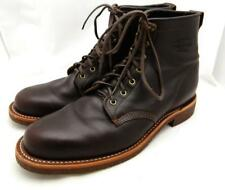 Chippewa Plain Toe Leather Boots 10 $268 brown shoes work ankle