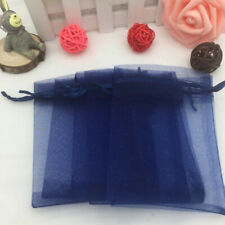 10pcs Drawstring Organza Bags Jewelry Pouches Wedding Party Gift Bag Navy blue