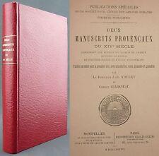 DEUX MANUSCRITS PROVENCAUX DU XIV° SIECLE / RARISSIME EO 1888 / RAIMON DE CORNET