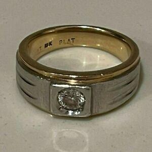 Genuine Mens Yellow 18K Gold + Platinum + Round Diamond Ring