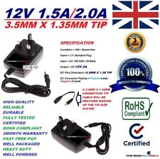 UK 12V 1.5A 1500mA AC/DC SWITCHING POWER SUPPLY ADAPTER 3.5MM X 1.35MM TIP SIZE