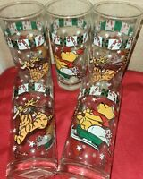6 Holiday Winnie Pooh  Tigger Glass SET 6  NWT Christmas Reindeer Fun 100 Acre