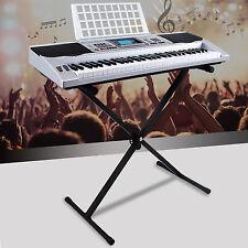 Silver 61 Key Music Digital Electronic Keyboard Electric Piano Organ w/Stand