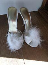 Rockability Boudoir Heels Shoes Heeled Slippers Sexy White Feather Honeymoon 36
