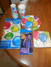 Party supplies balloon tablecloth cups napkins cutlery set 16 guests