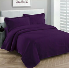 King Size 3 pc Solid  Embossed bedspread Bed Cover New Over size  DARK pURPLE