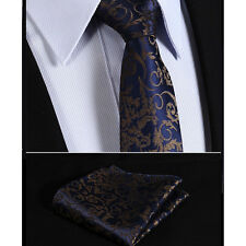 Mens Dark Navy Blue & Gold Brown Floral Design Slim Tie Wedding Silk FREE HANKY