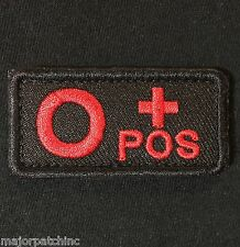 O+ O POS POSITIVE BLOOD TYPE USA ARMY BLACK OPS RED HOOK PATCH